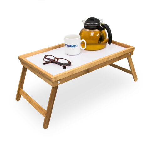 Relaxdays Bamboo Wooden Breakfast in Bed Tray, Serving Tray With Folding Legs w/ Plastic Surface, Natural Brown