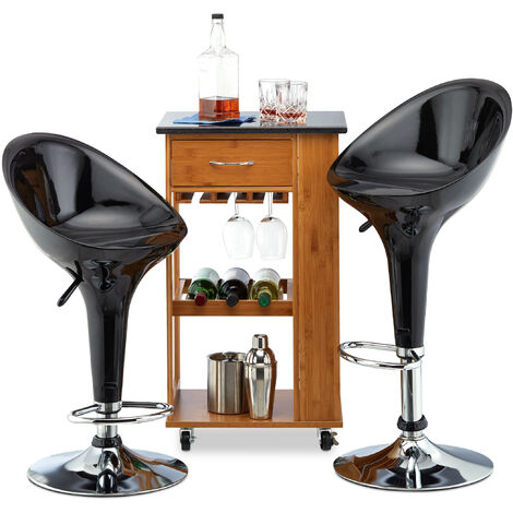 Relaxdays Bar Stool Set of 2, Height-Adjustable, Swivel, 120 kg, Metal Bistro Chair, HxWxD: 101 x 45 x 40 cm, Black