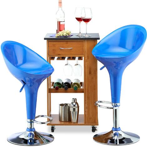 Relaxdays Bar Stool Set of 2, Height-Adjustable, Swivel, 120 kg, Metal Bistro Chair, HxWxD: 101 x 45 x 40 cm, Blue