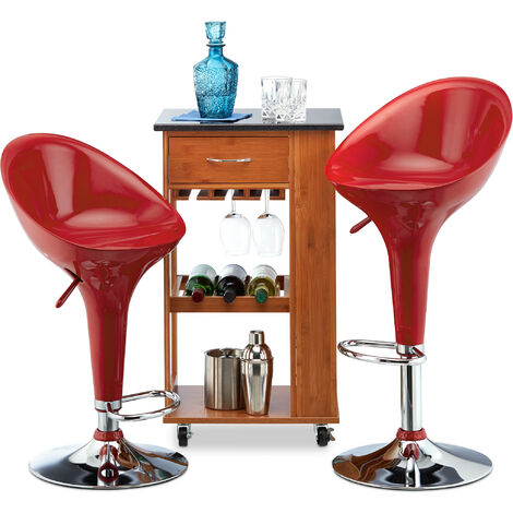 Relaxdays Bar Stool Set of 2, Height-Adjustable, Swivel, 120 kg, Metal Bistro Chair, HxWxD: 101 x 45 x 40 cm, Red
