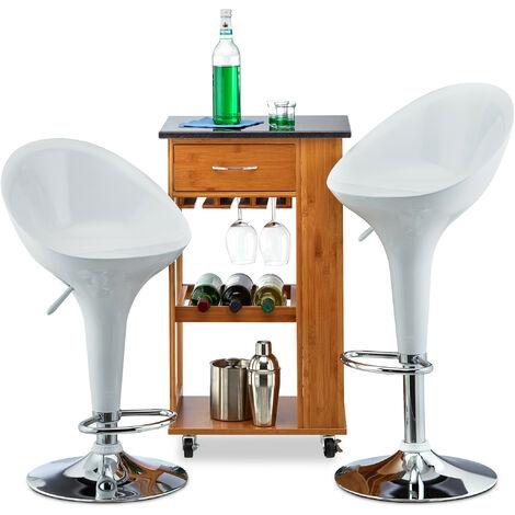 Relaxdays Bar Stool Set of 2, Height-Adjustable, Swivel, 120 kg, Metal Bistro Chair, HxWxD: 101 x 45 x 40 cm, White