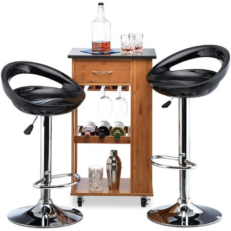Relaxdays Bar Stool Set of 2, Height-Adjustable, Swivel, 120 kg, Metal Bistro Chair, HxWxD: 99 x 46 x 39 cm, Black
