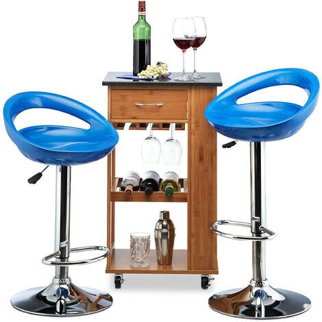 Relaxdays Bar Stool Set of 2, Height-Adjustable, Swivel, 120 kg, Metal Bistro Chair, HxWxD: 99 x 46 x 39 cm, Blue