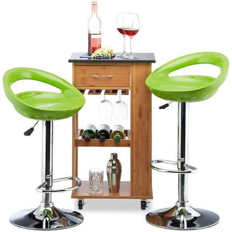 Relaxdays Bar Stool Set of 2, Height-Adjustable, Swivel, 120 kg, Metal Bistro Chair, HxWxD: 99 x 46 x 39 cm, Green