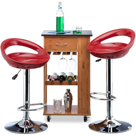Relaxdays Bar Stool Set of 2, Height-Adjustable, Swivel, 120 kg, Metal Bistro Chair, HxWxD: 99 x 46 x 39 cm, Red