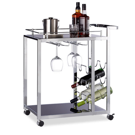 Relaxdays BARON Glass Serving Trolley, Design, Wine Rack for 6 Bottles, HxWxD: 75 x 40 x 70 cm, Kitchen Cart, Black