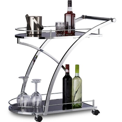 Relaxdays BARON Serving Trolley, Design, Round, Metal, HxWxD: 73 x 46 x 74 cm, Kitchen Cart, Tea Wagon, Black