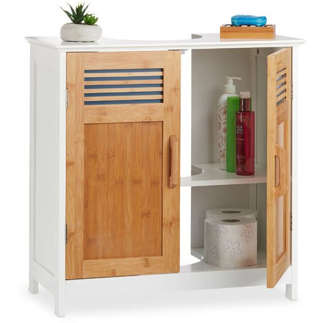 Relaxdays Basin Vanity Unit, Bamboo Doors, Height-Adjustable Shelf, Siphon Cut-Out, HWD: 60x60x30cm, Natural/White