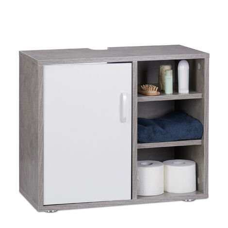 Relaxdays Basin Vanity Unit, One Door, Bathroom Under-Sink Cabinet, Siphon Cut-Out 51x60x32 cm, Grey