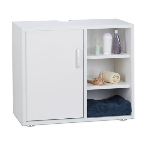Relaxdays Basin Vanity Unit, One Door, Bathroom Under-Sink Cabinet, Siphon Cut-Out 51x60x32 cm, White