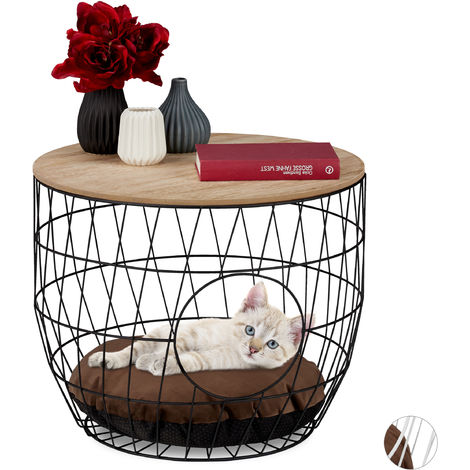 Relaxdays Basket Coffee Table with Pet Cave for Cats & Small Dogs, Side Stand with Pillow, HxD 40x50cm, Black