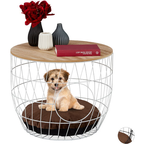 Relaxdays Basket Coffee Table with Pet Cave for Cats & Small Dogs, Side Stand with Pillow, HxD 40x50cm, White