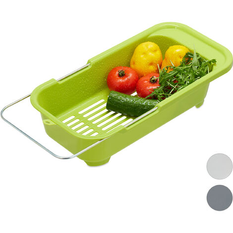Relaxdays Basket Sink Strainer, Plastic Fruit & Vegetable Bowl Drainer, Drip Tray Fits Sinks Up To 57 cm, Green