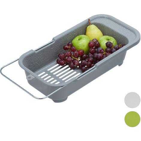 Relaxdays Basket Sink Strainer, Plastic Fruit & Vegetable Bowl Drainer, Drip Tray Fits Sinks Up To 57 cm, Grey