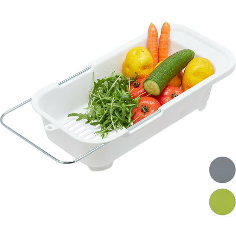 Relaxdays Basket Sink Strainer, Plastic Fruit & Vegetable Bowl Drainer, Drip Tray Fits Sinks Up To 57 cm, White