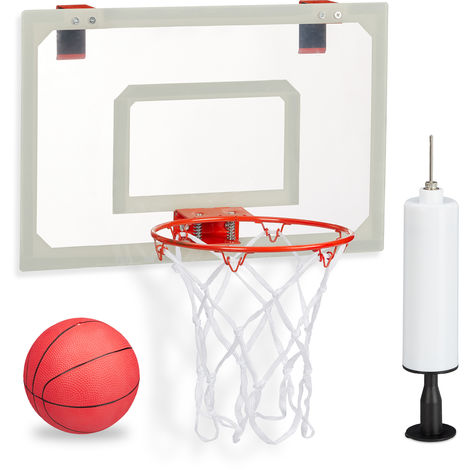 Relaxdays Basketball For Indoors, Set With Ball & Pump, Backboard To Hang On Doors, No Drilling, Multicoloured