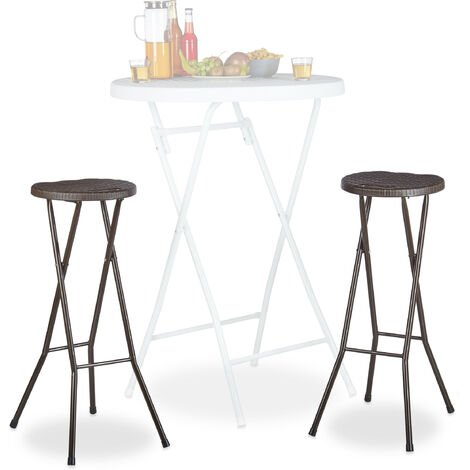 """main image of """"Relaxdays BASTIAN Folding Bar Stools Set of 2, Waterproof, 80 cm Tall, Breakfast Chair Double Pack, Plastic, Counter Seat, Brown"""""""