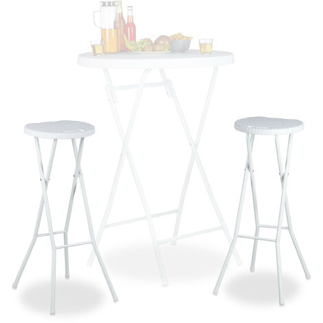 Relaxdays BASTIAN Folding Bar Stools Set of 2, Waterproof, 80 cm Tall, Breakfast Chair Double Pack, Plastic, Counter Seat, White