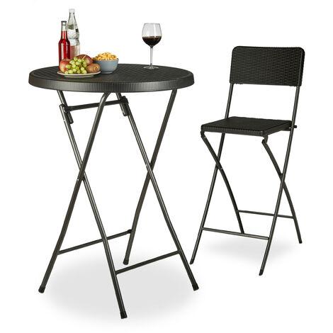 Relaxdays BASTIAN Folding Bar Table, Round, HxWxD: 110 x 80 x 80 cm, Rattan Look, Waterproof, Tall Party Table, Black