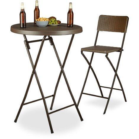 Relaxdays BASTIAN Folding Bar Table, Round, HxWxD: 110 x 80 x 80 cm, Rattan Look, Waterproof, Tall Party Table, Brown