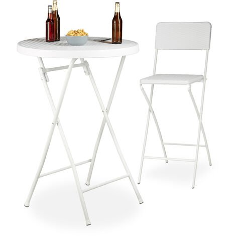 Relaxdays BASTIAN Folding Bar Table, Round, HxWxD: 110 x 80 x 80 cm, Rattan Look, Waterproof, Tall Party Table, White