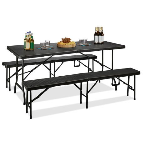Relaxdays BASTIAN Folding Benches and Table Set, 3 Piece Garden Furniture Set, Solid Colour, HxWxD: 73 x 180 x 75 cm, Black