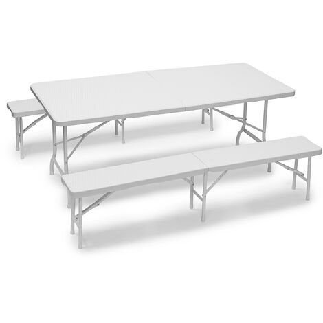 Relaxdays BASTIAN Folding Benches and Table Set, 3 Piece Garden Furniture Set, Solid Colour, HxWxD: 73 x 180 x 75 cm, White