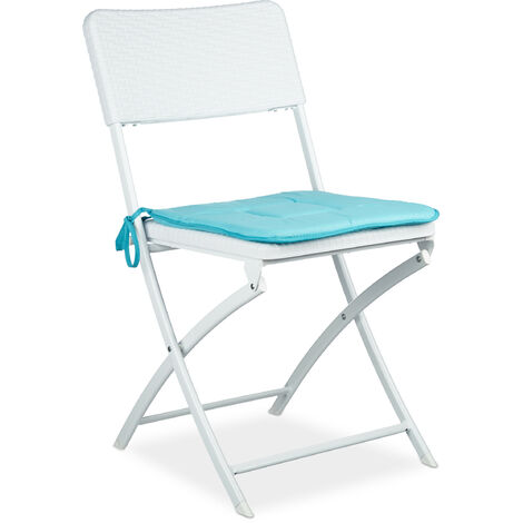 Relaxdays BASTIAN Folding Chair, One chair in Rattan-Look, Garden Furniture, 82 x 44 x 50 cm, White