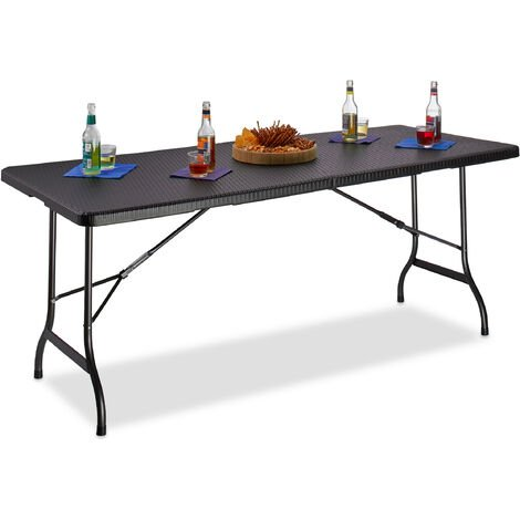 Relaxdays BASTIAN Folding Garden Table, Large, with Handle, Camping Table, HxWxD: 72 x 178 x 74 cm, Black