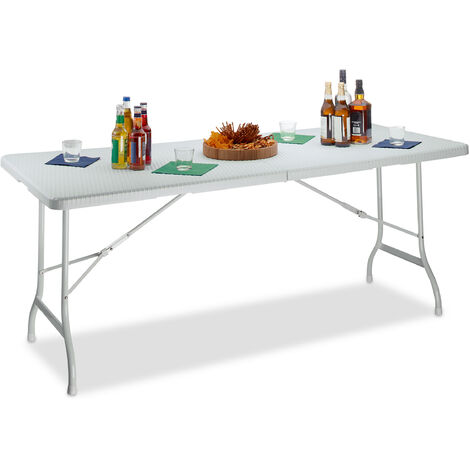 Relaxdays BASTIAN Folding Garden Table, Large, with Handle, Camping Table, HxWxD: 72 x 178 x 74 cm, White