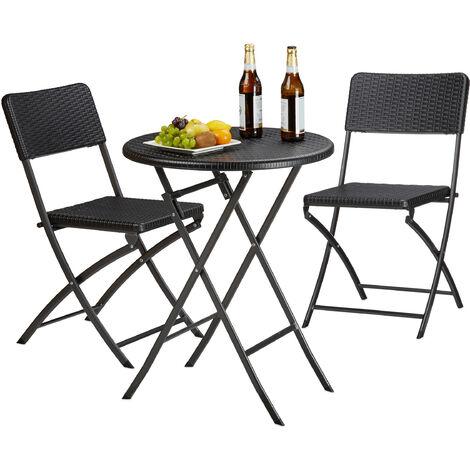 Relaxdays BASTIAN Garden Furniture Set, Foldable, 3-Pieces, Rattan-Look, HxWxD: 75.5 x 60 x 60 cm, Black