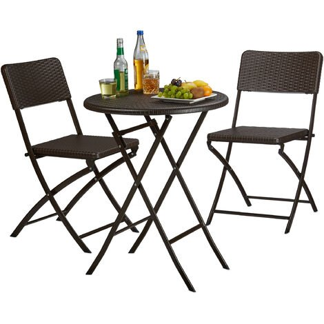 Relaxdays BASTIAN Garden Furniture Set, Foldable, 3-Pieces, Rattan-Look, HxWxD: 75.5 x 60 x 60 cm, Brown