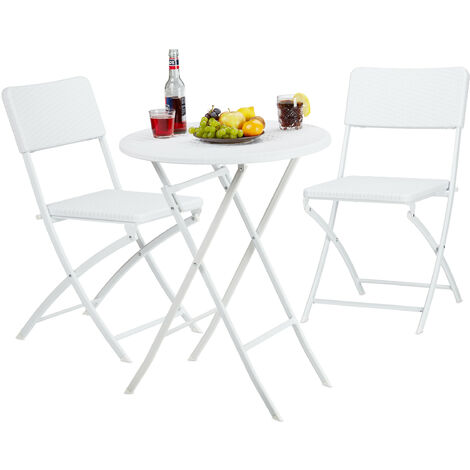 Relaxdays BASTIAN Garden Furniture Set, Foldable, 3-Pieces, Rattan-Look, HxWxD: 75.5 x 60 x 60 cm, White