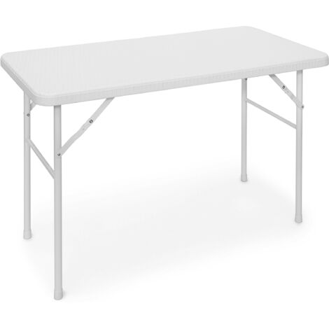 Relaxdays BASTIAN Garden Table Folding Table Rectangular 74 x 121.5 x 61 cm for Backyard, Balcony or Patio with Metal Frame in Rattan Look as Side Table or Camping Table, White