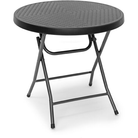 Relaxdays BASTIAN Garden Table Folding Table Round 74 x 80 x 80 cm for Backyard, Balcony or Patio with Metal Frame in Rattan Look as Side Table or Camping Table, Black