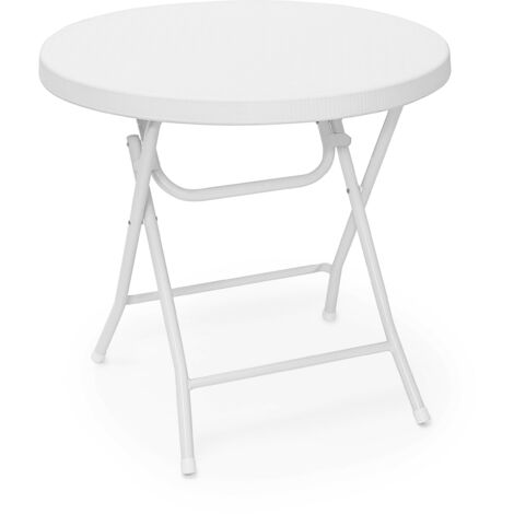 Relaxdays BASTIAN Garden Table Folding Table Round 74 x 80 x 80 cm for Backyard, Balcony or Patio with Metal Frame in Rattan Look as Side Table or Camping Table, White