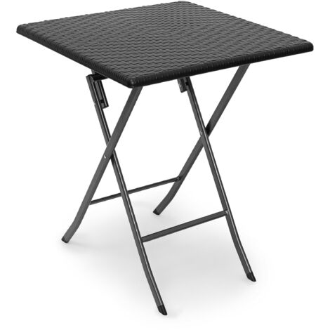 Relaxdays BASTIAN Garden Table Folding Table Square 74 x 61.5 x 61.5 cm for Backyard, Balcony or Patio with Metal Frame in Rattan Look as Side Table or Camping Table, Black