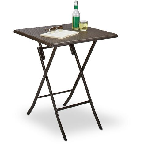 Relaxdays BASTIAN Garden Table Folding Table Square 74 x 61.5 x 61.5 cm for Backyard, Balcony or Patio with Metal Frame in Rattan Look as Side Table or Camping Table, Dark Brown