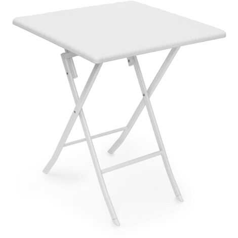 Relaxdays BASTIAN Garden Table Folding Table Square 74 x 61.5 x 61.5 cm for Backyard, Balcony or Patio with Metal Frame in Rattan Look as Side Table or Camping Table, White