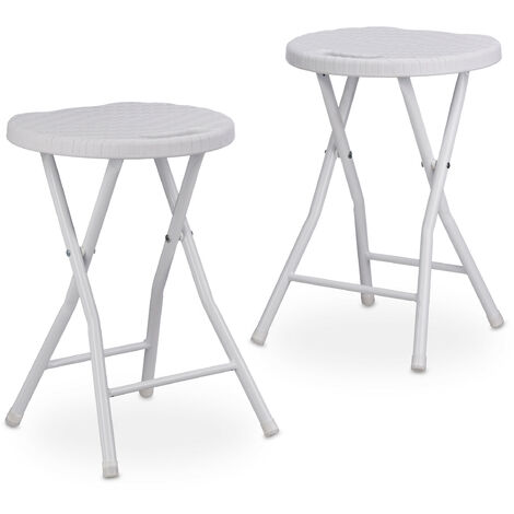 Relaxdays BASTIAN Round Folding Stool, Foldable, Plastic, Rattan Look, Waterproof, HxWxD: 45 x 32.5 x 29 cm, White