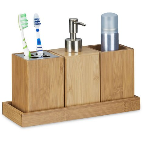 Relaxdays Bath Accessory 4-Piece Set, Bamboo, Toothbrush Holder, Soap Dispenser, Soap Dish, Holder, Natural