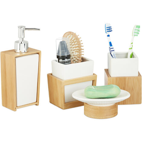 Relaxdays Bath Kit, 4-Piece Bathroom Accessories Set, Bamboo and Ceramics, Soap Dispenser and Tumbler, Natural/White