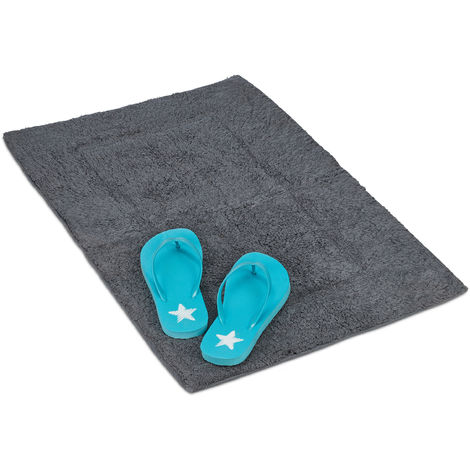 Relaxdays Bath Mat, Anti-Slip, Washable, Rectangular, 100% Cotton, Different Sizes, Shower Rug, Grey