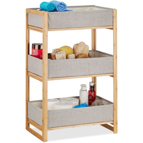 Relaxdays Bath Rack Shelving Unit 3 Foldable Trays, Small Bamboo Shower Caddy, HWD: 75 x 46.5 x 31.5 cm, Natural/Grey