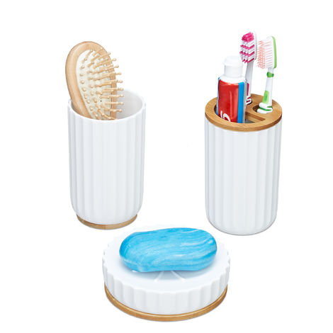 Relaxdays Bathroom Accessory Set of 3, Soap Dish, Toothbrush Holder, Tumbler, Bamboo Kit, White/Natural