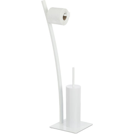 Relaxdays Bathroom Accessory Set with Toilet Paper & Brush Holder + Brush, Hygienic, HxWxD: 78x29x20 cm, White