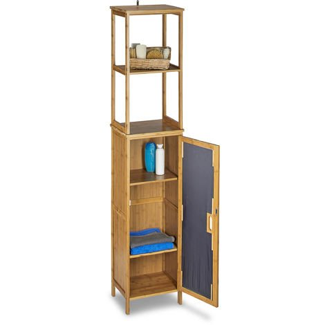 Relaxdays Bathroom Bamboo Cabinet 170 x 33.5 x 28 cm Bathroom Cupboard with 6 Shelves with Practical Storage Room for Bathroom Accessories Standing Shelf with 2 Ajustable Boards Bath Stand, Natural