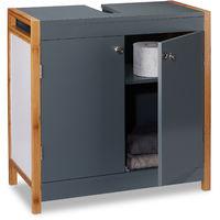 Relaxdays Bathroom Basin Floor Cabinet with Bamboo Frame, Adjustable Shelf, Siphon Cut-Out, HxWxD: 60 x 60 x 29 cm, Grey