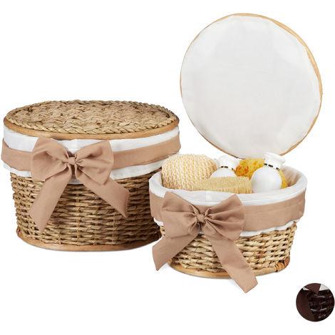 Relaxdays Bathroom Baskets Set of 2, Storage Box Set with Lids, Decorative Buri Wood, Wicker Look, Round, Natural