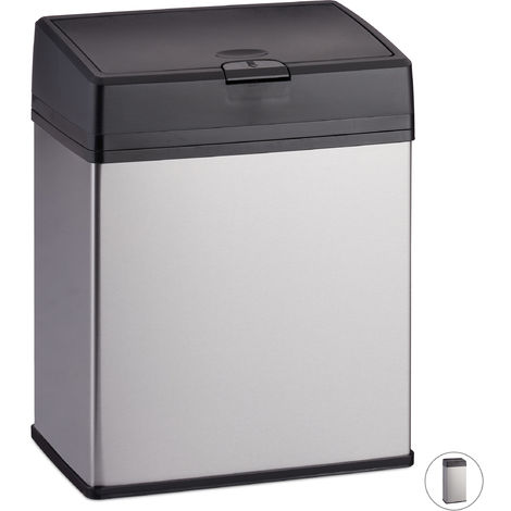 Relaxdays Bathroom Bin, Stainless Steel Indoor Dustin for the Bathroom & Kitchen, Push Function, 3 L, Silver